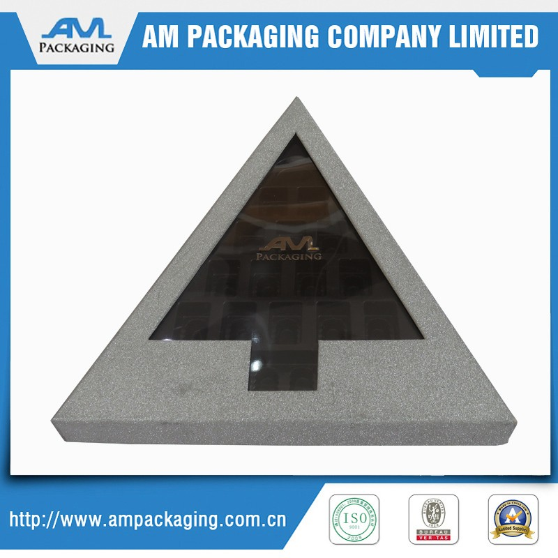 luxury truffle candy boxes with plastic insert triangle shape chocolate packing box
