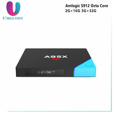 A95X A2 Amlogic S912 Octa Core Android 6.0 TV Box 2G/16GB HD 2.0 4K HD TV Box Receiver 2.4g/5g Wifi 10/100/1000M NETBOX