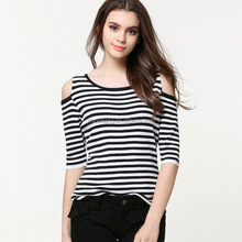 hot sale summer off shoulder stripe knitted jumper