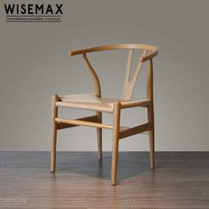 Wholesale Hans Wegner Y Chair Ash Wood Replica Wishbone Dining Chair with Fabric Woven rush Seat