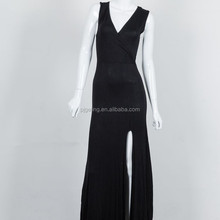 2017 Woman Hot Sale V-neck Sleeveless Ladies Black Long Jumpsuit