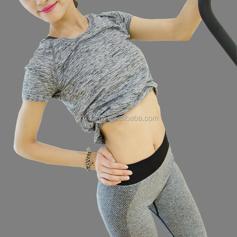 Manufactory In China Supply Ladies Colorful Gym Wear New Type Famale Short Sleeve Athletic T-shirt High Quality O-neck Yoga Wear