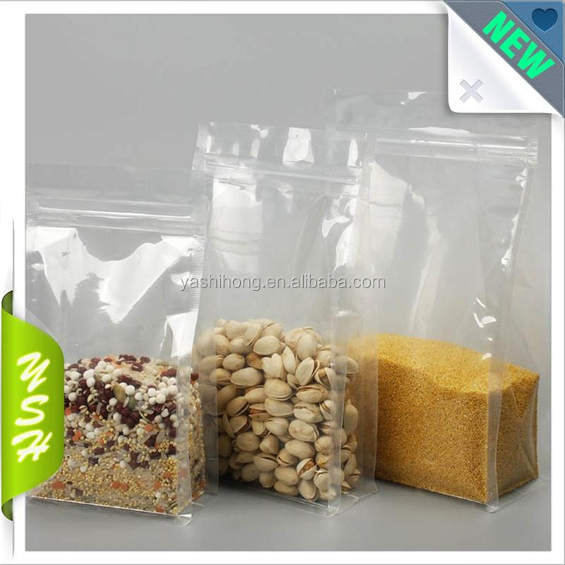 flat bottom clear plastic Mylar vacuum Storage bag for food <strong>packing</strong>