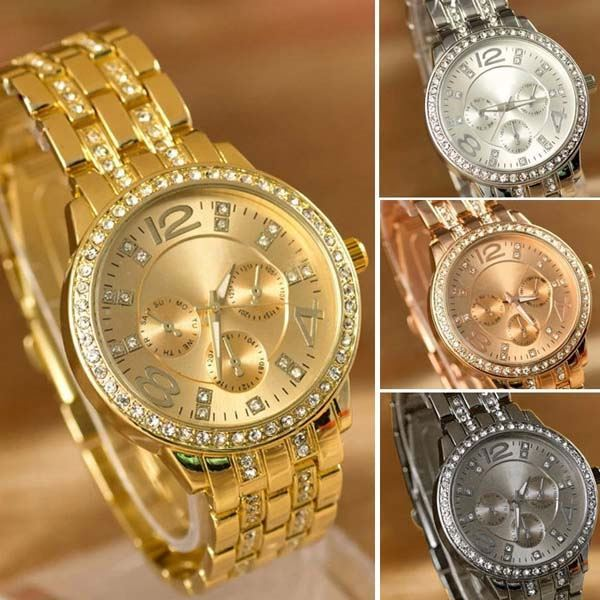 Best Selling China Manufacture High Quality Geneva Quartz Stainless Steel Alloy Wrist Watch Diamond 24k Gold Watch