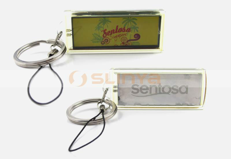 Metal Belt Key Ring Solar Power Color Screen Flash LCD Board Chain
