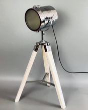 Tripod Wooden Desk lamp, nature wood, metal search light
