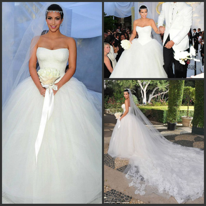 2014 New Design Luxury Lace Tulle Ball Gown Organza Kim Kardashian With Long Train Wedding Dresses