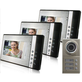7inch LCD house color video doorphone camera with 3 buttoms for 3 different room