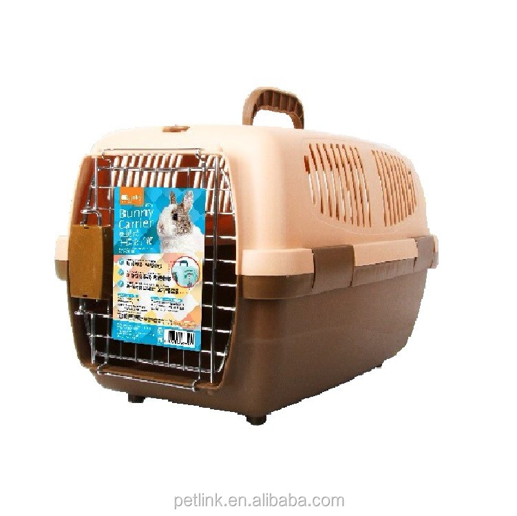 High Quality Brown Plastic Portable Pet Carrier for Rabbit, Chinchilla