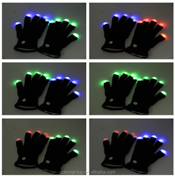 led gloves as gifts/Hot Selling 20pair/lot Novelty LED Finger Light Gloves Halloween Light Up Gloves