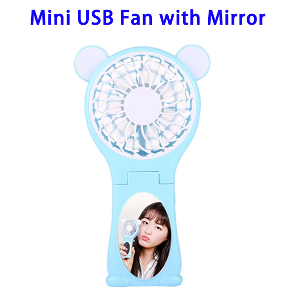 Bear Shaped Portable Rechargeable Folding Mini USB Fan with Mirror