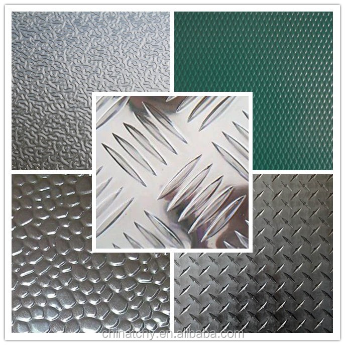 China supplier embossed stucco aluminum checkered sheet for aluminum trailer decking