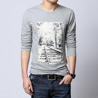 Mens OEM long sleeve t shirt extra long t-shirt custom t shirt printing