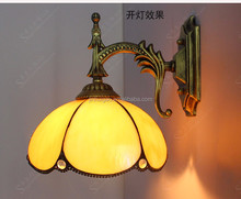 Tiffany hotel bedside reading lamps glass LED indoor wall lamp with flower shape