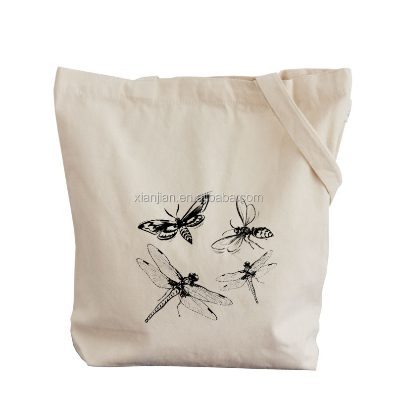 pure white printed cotton shopping bag