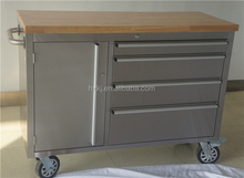 stainless steel Roller Cabinet Hand Tool Kit With 4 drawer and one bulk storage