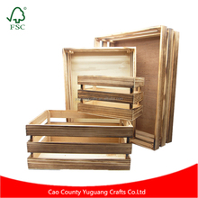 Zakka Wholesale Vintage Carbonized Color Cheap Wooden Fruit Crates for Sale