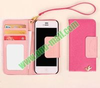 South Korea Little Flying Bird Wallet Style with Strap Flip Leather Case for iPhone 5 4s 5c