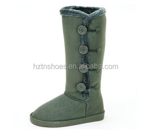 "Womens Faux Shearling 14"" Tall Mid Calf 4 Button Fur Boots High Quality"