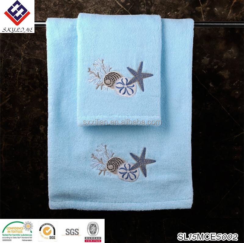 Blue pure towels with Starfish and shells underwater world towel sets