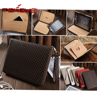 Luxury business style leather wallet zipper cover for iPad mini case