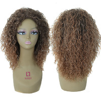 Ombre Color Fashional Hair Synthetic Hair Wigs Long Curly Wave Heat Resistant Fiber Top Quality Non-lace Hair Wigs