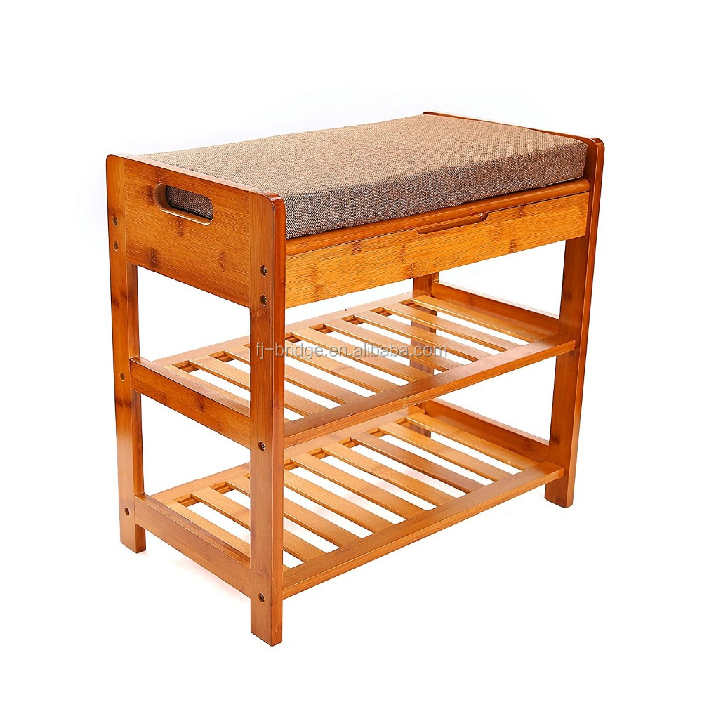 2 Tier Natural Bamboo Shoe Rack Foot Stool with Cushion and Storage Drawer on Top