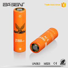 New arrival Basen 18650 2700mah 45a li-ion rechargeable high drain battery for electric cigarette