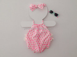 Bodysuits organic cotton baby girls pink dots romper tex toddler clothes newborn infant wear cotton frock designs