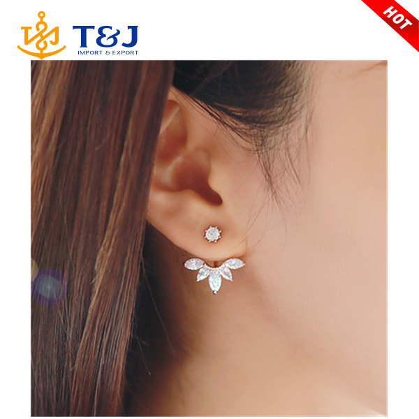 2015 Fashion Earing Big Crystal Rose Gold Silver Ear Jackets Jewelry High Quality Leaf Ear Clips Stud Earrings For Women 1 Pair