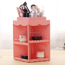China Factory Promotion Wholesale Plastic Pink 360 Rotate Makeup organizer Storage Box