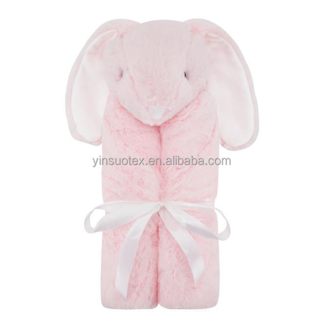 New born baby blanket pink rabbits with long ears patterns coral fleece blanket made in China soft touch baby blankets