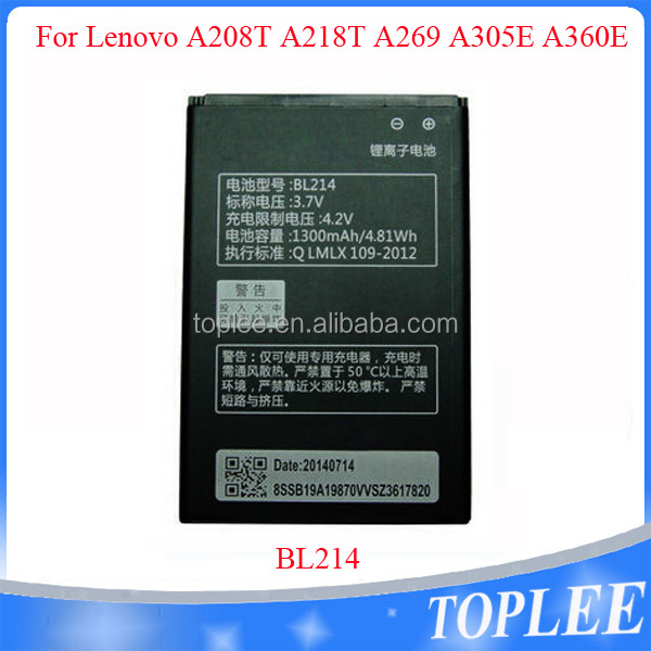1300mAh BL214 Cell Mobile phone Battery For Lenovo A269 A305E A208t A218t A269I A360e A300T A316