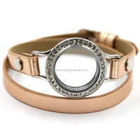 Fashion 30MM Silver Crystal Round Locket Leather Bracelet Watch Wholesale