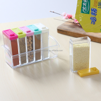Transparent Russia flavor Spice jar seasoning jar 6pcs Acrylic Seasoning Box Storage Box Cruet 6pcs/set