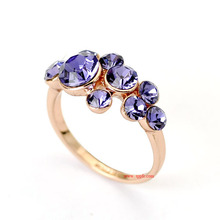 Fancy Crystal Jewelry Purple Zinc Alloy Austrian Crystal Diamond Engagement Ring