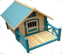 Nature Wood Color Dog Pet Wooden House Cage Kennel with Small Yard