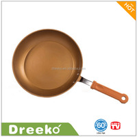 Aluminum Ceramic Coating Non-stick Copper Fry Pan With Silicon Handle