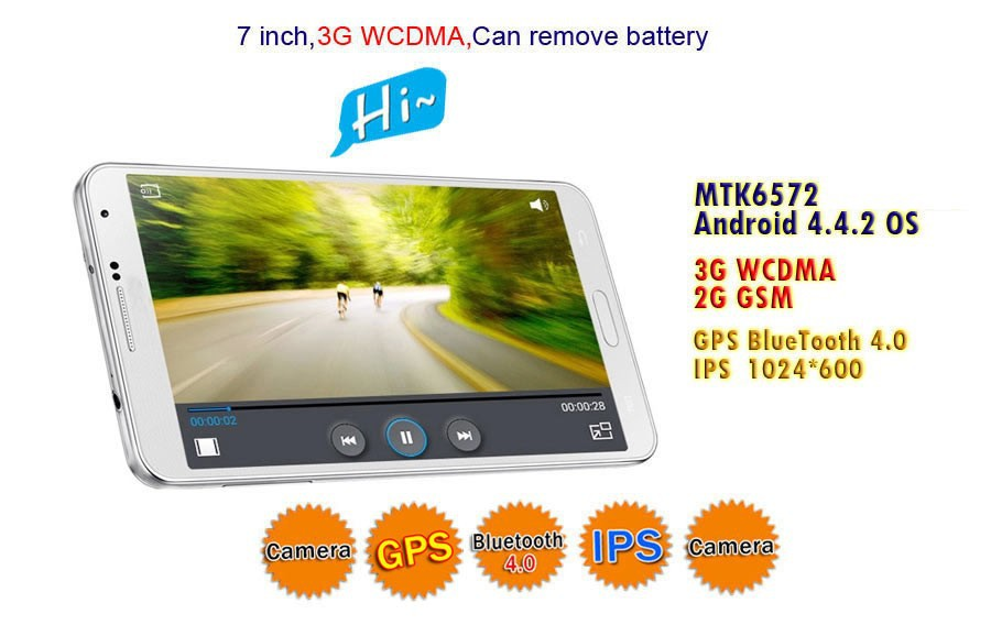 Top selling 7 inch IPS 1024*600 MTK 6572 dual core 1.3GHz Android 4.2 7 inch tablet with removable battery