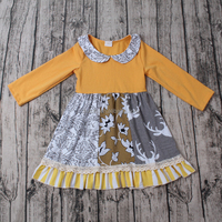 Ruffles boutique floral mustard colors long dress baby frock 2013 children frocks designs