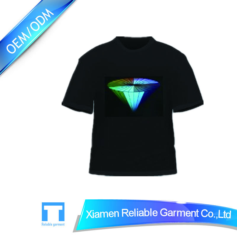 Hot sell custom sound activated flashing china led t shirt