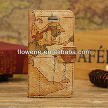 FL2765 2013 Guangzhou hot selling world map wallet pu leather case cover for iphone 5c