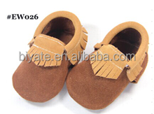 Colorful cheaper suede leather baby moccasins