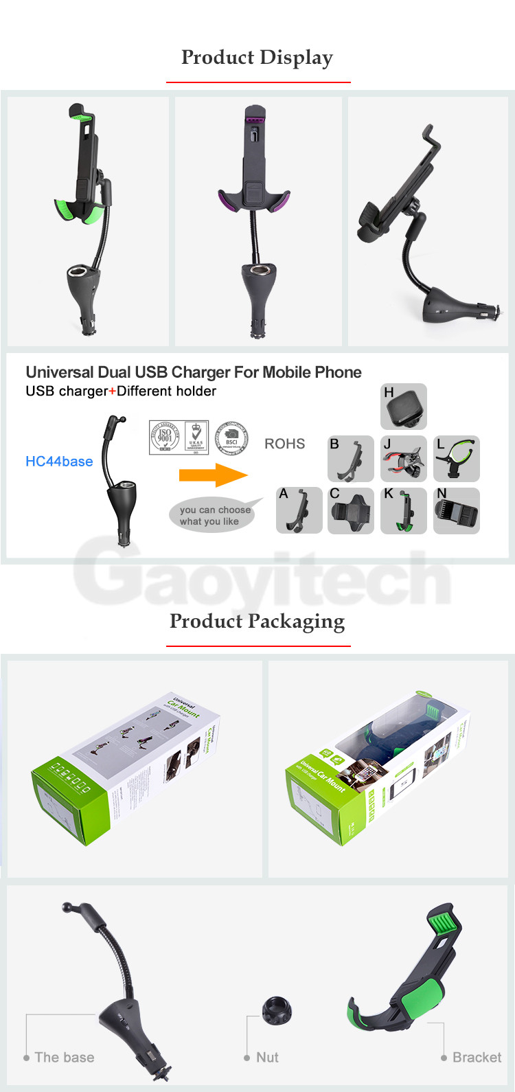 2017 factory price one socket with dual USB car charger holder smartphone charger holder
