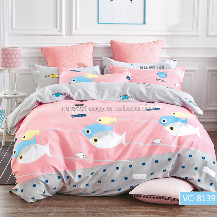 Super cute cat amd fish printing bedding set, duvet cover set, cotton bedding set