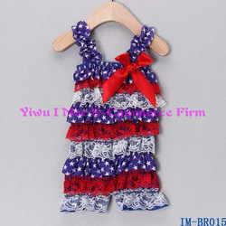 Boutique Baby Girls Lace Tiered Ruffles Rompers for 4th of July IM-BR015