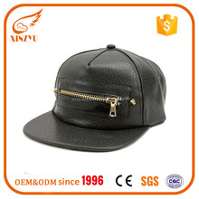 PU Leather Hat Custom Flat Wholesale Five Panel Cap Custom Snapback