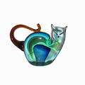 Clear Murano glass cat figurine