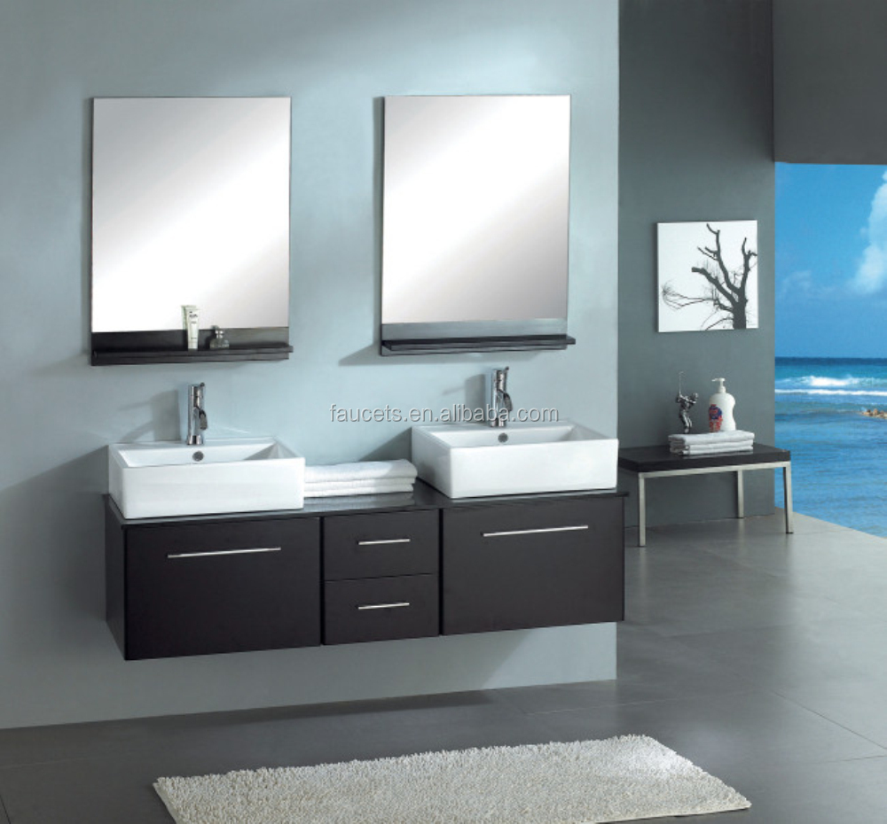 Wall Mounted Double Sink Make Up Bathroom Cabinets