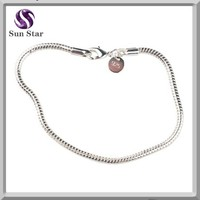 Rodium Plated Lobster Clasp Snake Chain Bracelet,925 Sterling Silver Bracelets Wholesale